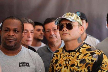 Chino Maidana y Rafa Liendo, en la presentación de El Regreso del campeón argentino