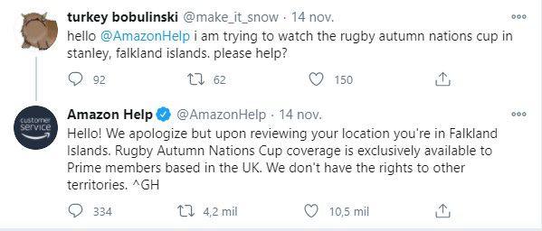 La respuesta de Amazon que llamó la atención en las redes sociales (Captura Twitter)