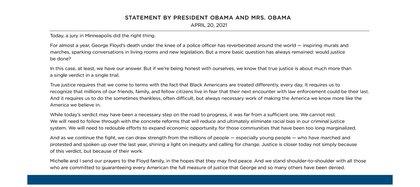 El comunicado de Barack Obama tras la condena de la justicia contra Derek Chauvin por el asesinato de George Floyd