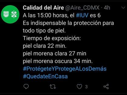 Además de las altas temperaturas registradas por el SMN y la SGIR, el Sistema de Monitoreo Atmosférico de la Ciudad de México apuntó que también prevalecieron altos los Índices de Radiación Ultravioleta (IUV) (Foto: Twitter/@Aire_CDMX)