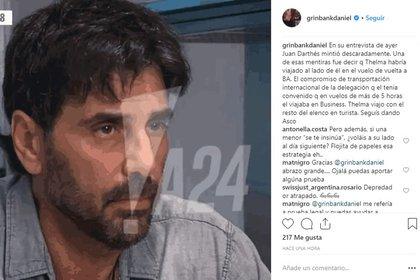 El mensaje de Grinbank en Instagram