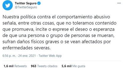"""Dans les réseaux sociaux, certains secteurs """"ils ont célébré"""" le diagnostic du président.  À cet égard, Twitter a rappelé que sa politique ne tolère pas les contenus exprimant un désir contre la santé d'une personne (Photo: Twitter / @TwitterSeguro)"""
