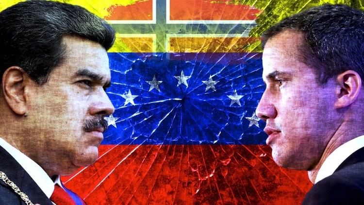 El dictador Nicolás Maduro y Juan Guaidó, presidente interino de Venezuela. Las negociaciones en Noruega todavía no dieron resultado (Edición fotográfica Ariel Grieco)