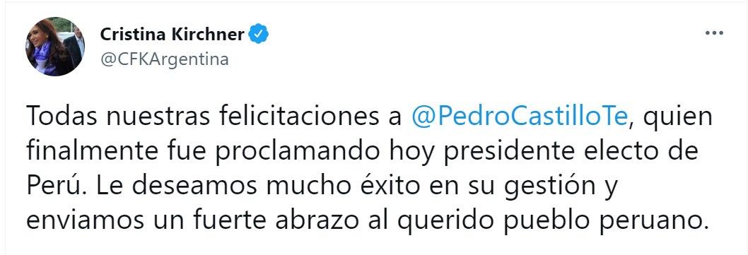 Felicitaciones a Pedro Castillo