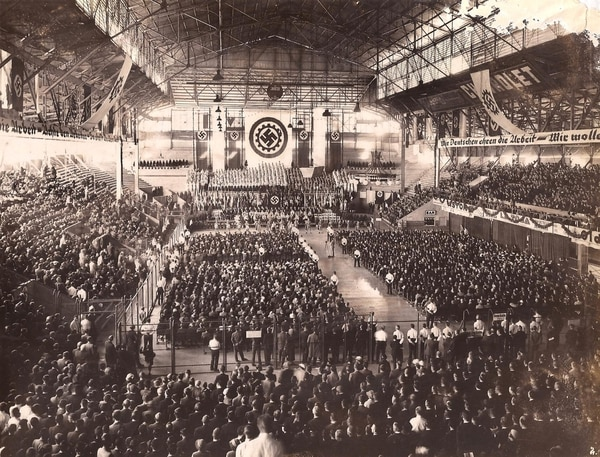 Acto nazi en el Luna Park en 1938