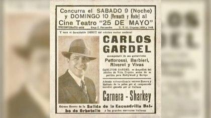 El afiche que promocionó el concierto que pasó a la historia como el último que dio Carlos Gardel en Buenos Aires.