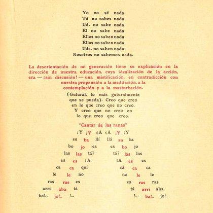 "Caligrama inicial de ""Espantapájaros (al alcance de todos)"" de Oliverio Girondo"