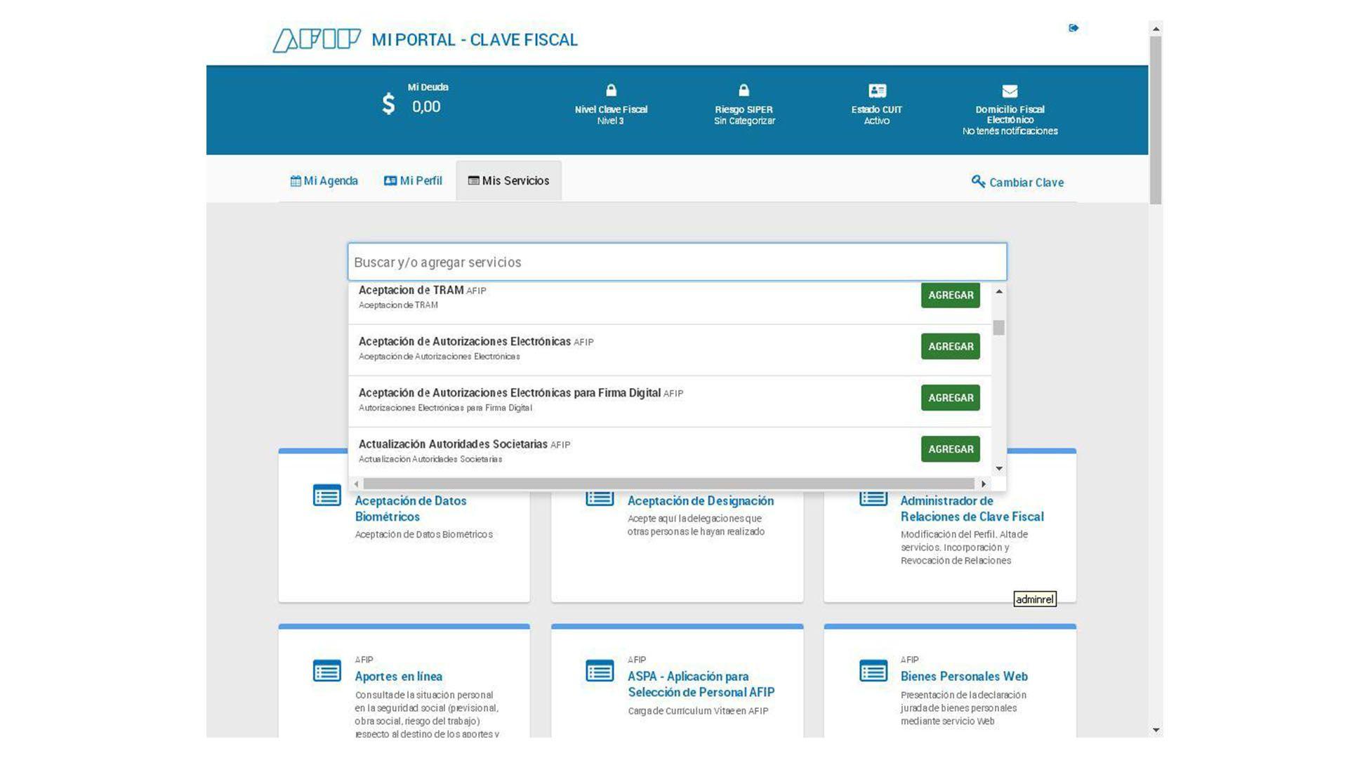 La pantalla inicial del Siradig en la web de la AFIP