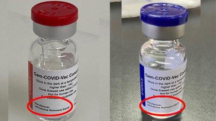 Dos de los 21.000 envases de la vacuna fabricada por el laboratorio argentino Richmond. Ahora deben ser testeadas y certificadas por los cientificos rusos de Gamaleya.  En una primera etapa, se formulará con la llegada del principio activo desde Moscú, desde la planta actual de Richmond. Además del etiquetado y envasado.