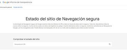 Google Safe Browsing permite ingresar una URL para identificar si se trata de un sitio sospechoso
