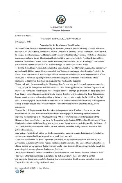 """El comunicado del secretario de Estado de EEUU, Anthony Blinken, sobre la """"política Khashoggi"""""""