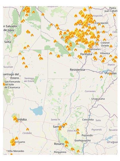 Mapa de los incendios que se están registrando en la Argentina (Inta Castelar)