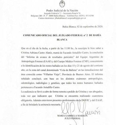 Comunicado oficial de la jueza María Gabriela Marrón.