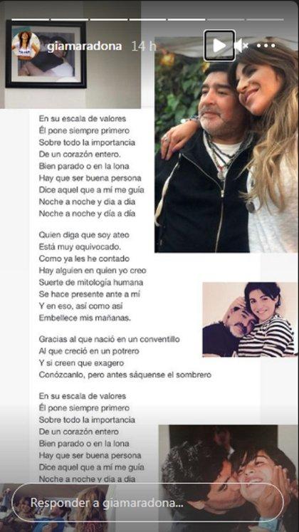 """Luego de leer la historia de Mariana y Maradona, Gianinna compartió la letra de """"Viejo"""", canción de Las Pastillas del Abuelo dedicada a los padres"""