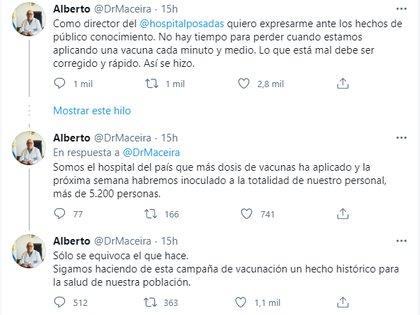 """A través de las redes sociales, el médico Alberto Maceira resaltó que """"solo se equivoca el que hace"""""""