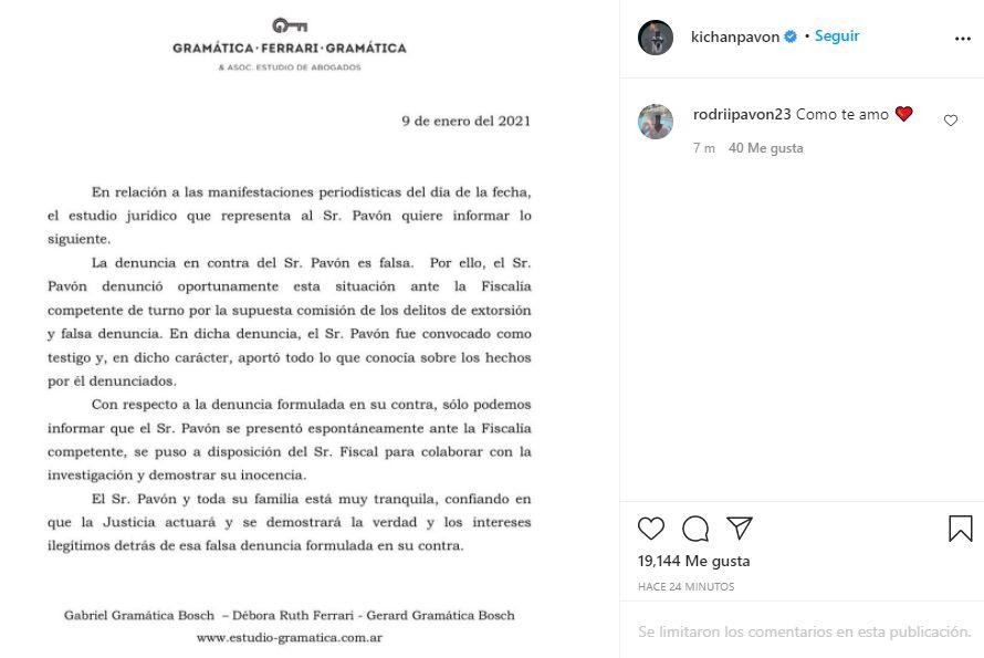 Descargo de Cristian Pavón sobre la denuncia por abuso sexual