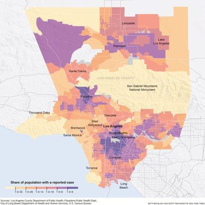 With Story:  BC-LOS-ANGELES-VIRUS-NYT --  As Los Angeles County has become the epicenter of the pandemic in the United States, the astonishing surge has reinforced the virus's unequal toll. Map at7.6 x 7.6 -- cat=a
