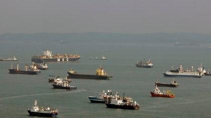 Buques contenedores y graneleros frente a la costa de Singapur el 10 de marzo de 2009 (REUTERS / Vivek Prakash / File Photo)