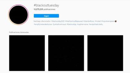 Millones de imágenes en negro se publicaron con el hashtag Blackout Tuesday en Instagram