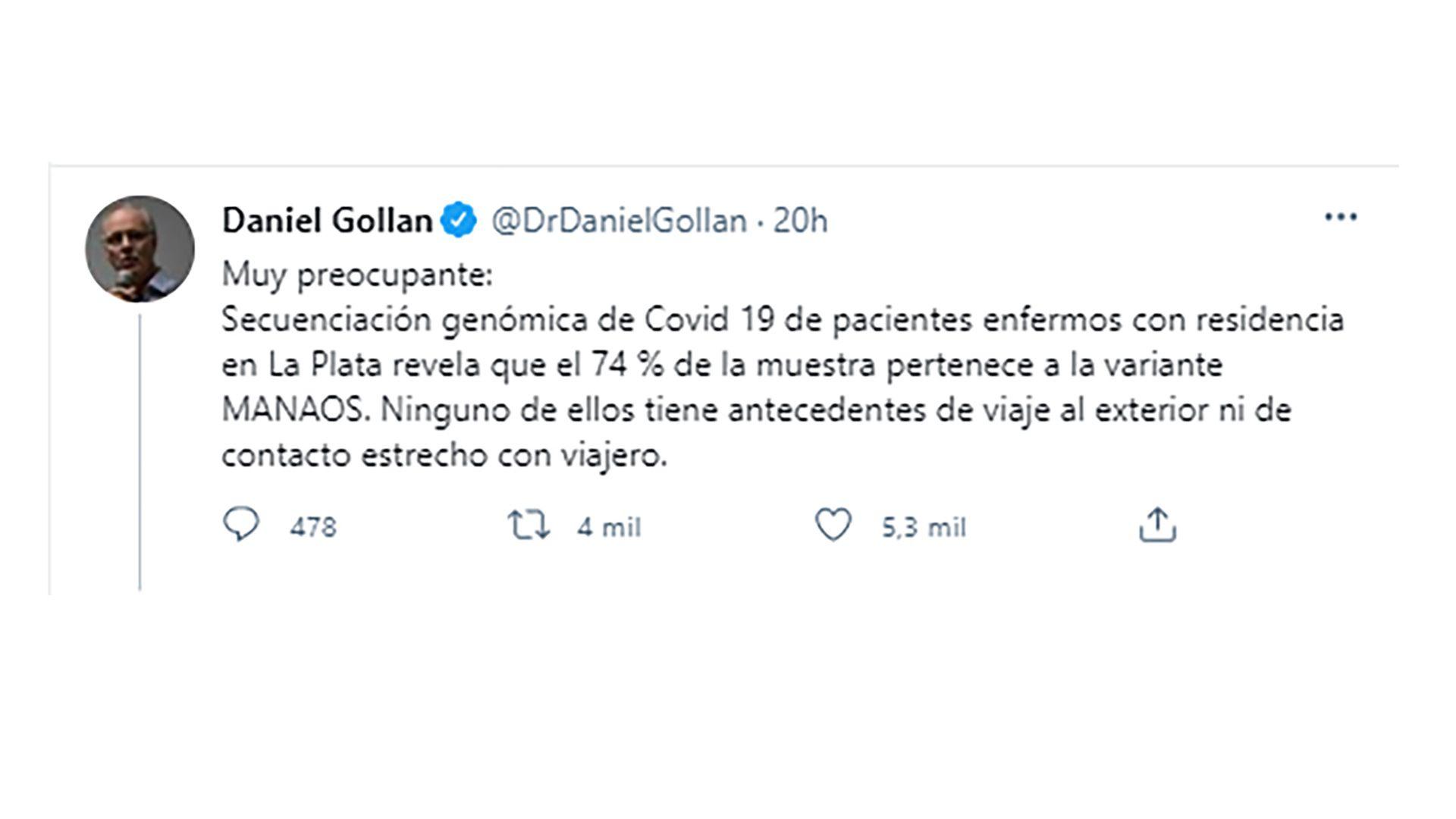 Gollan sobre la variante de manaos en La Plata