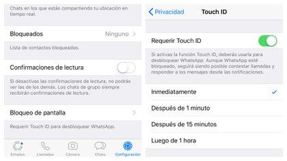 La opción de bloqueo se encuentra en la opción de Privacidad en el menú de Configuración. (Foto: Captura de pantalla)