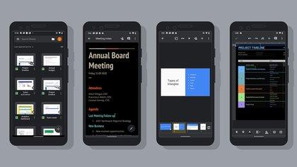 El modo oscuro está disponible para Documentos, Presentaciones y Hojas de cálculo de Google en Android