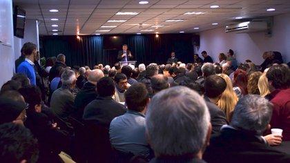 Asamblea de referentes evangélicos de todo el país,el 5 de julio pasado, donde se decidió la convocatoria del 4 de agosto en el Obelisco
