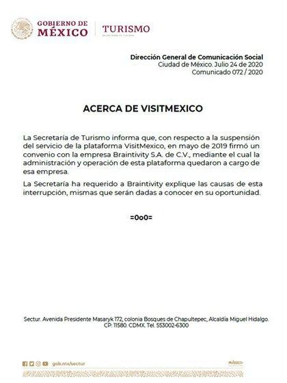 Visitmexico comunicado Sectur (Foto: SECTUR)