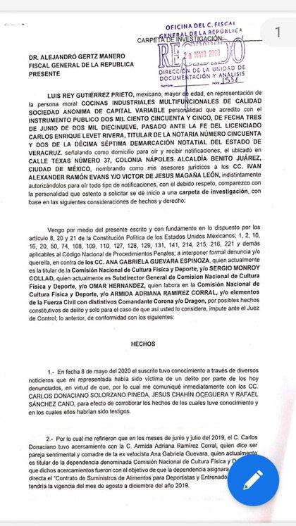 Parte de la denuncia presentada ante la FGR contra la titular de la Conade (Foto: Twitter @arteaganoticias)