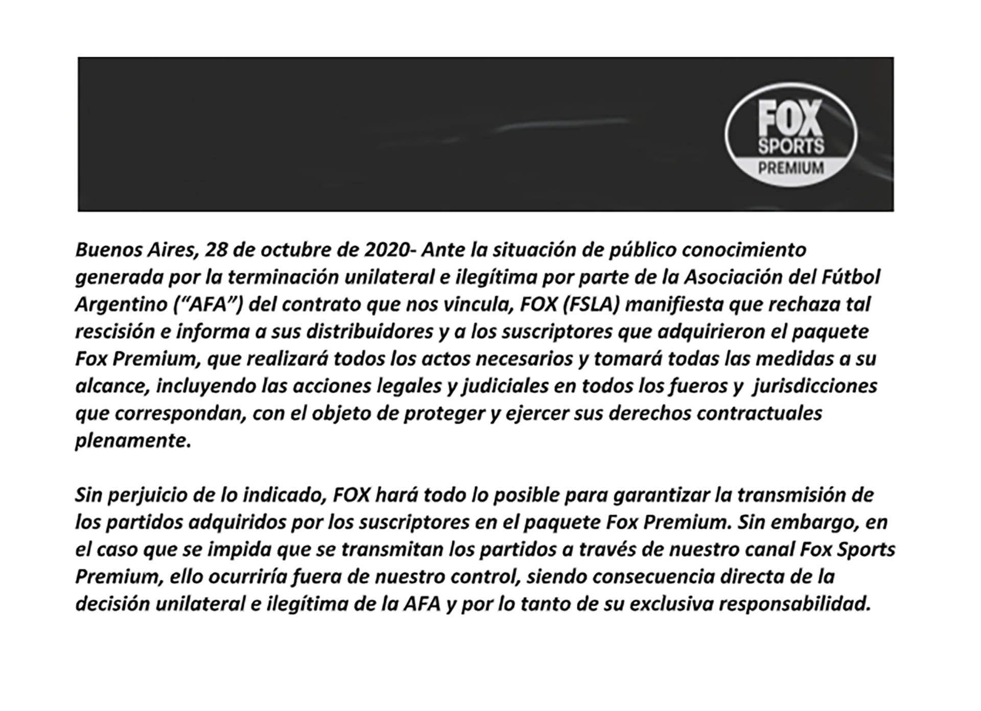 carta de Fox contra la AFA