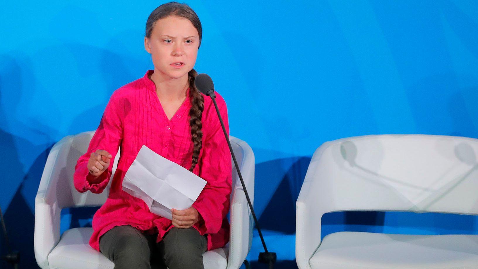 La joven Greta Thunberg de 16 años habla ante Naciones Unidas con un duro discurso medioambiental REUTERS/Lucas Jackson