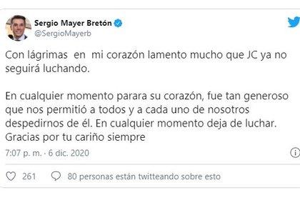"""Su yerno, el diputado Sergio Meyer, lamentó su muerte y la describió """"Generoso"""" (Foto: captura de pantalla)"""