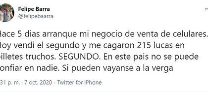 El tuit de Felipe Barra se volvió viral