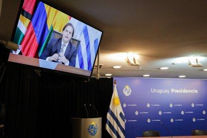 Fotografía de un televisor que muestra al presidente de Uruguay, Luis Lacalle Pou, durante su intervención en la LVII Reunión Ordinaria del Consejo del Mercado Común (CMC) hoy, en Montevideo (Uruguay) (EFE/ Raúl Martínez)