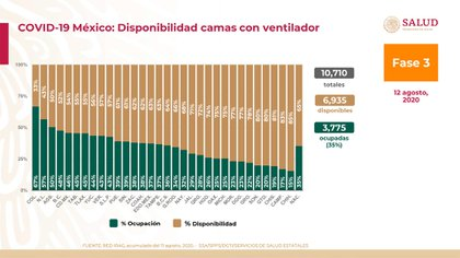 Gráfica de la disponibilidad de camas con ventilador disponibles en México (Foto: SSA)