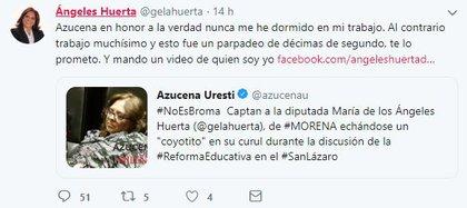 Así se defendió la diputada Ángeles Huerta (Foto: captura de pantalla)