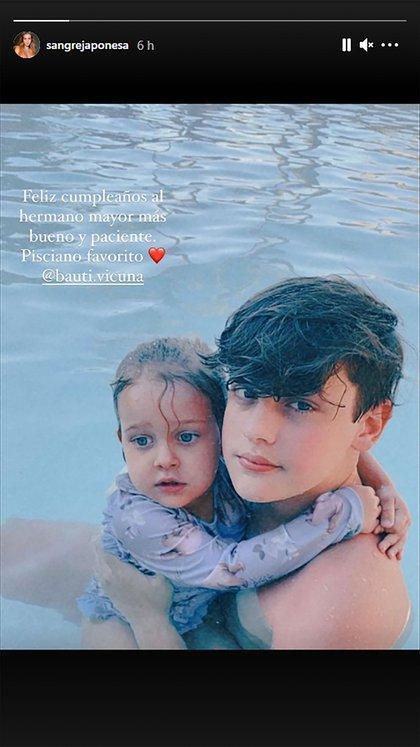 El saludo de la China Suárez para Bautista Vicuña, el hijo mayor de su marido Benjamín Vicuña (Foto: Instagram @sangrejaponesa)