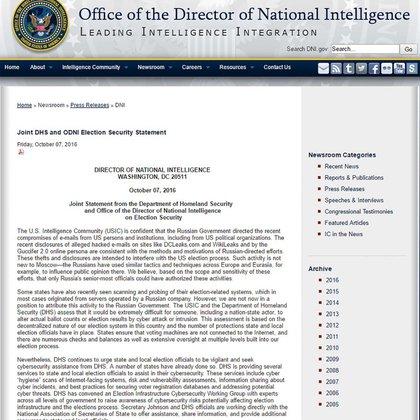 El comunicado de la Inteligencia estadounidense