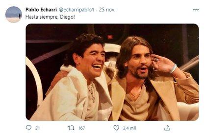 La vieja foto con la que Echarri despidió a Diego en Twitter