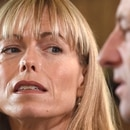 Kate and Gerry McCann, whose daughter Madeleine disappeared from a holiday flat in Portugal ten-years ago, react during a BBC TV interview in Loughborough, England, Friday April 28, 2017. The parents of Madeleine McCann have vowed to do