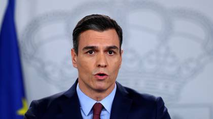 Spanish Prime Minister Pedro Sanchez speaks during a news conference after taking part in a conference call with European leaders at the Moncloa Palace in Madrid, Spain, March 10, 2020. REUTERS/Sergio Perez