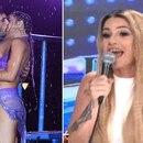 El beso de Jimena Barón y su bailarín, al cerrar del Aquadance, que provocó los elogios de Flor Peña (Fotos: LaFlia / Negro y captura Luengo)