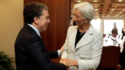 Christine Lagarde y Nicolás Dujovneen Washington