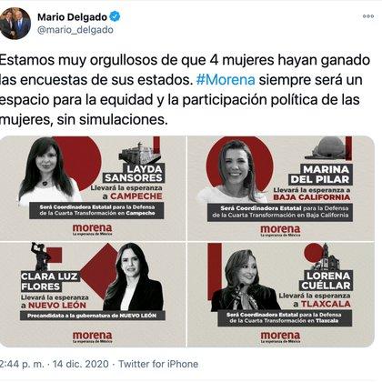 Cuatro de las primeras cinco candidaturas a gubernaturas anunciadas en Morena para las elecciones de 2021 son mujeres (Foto: Twitter @mario_delgado)