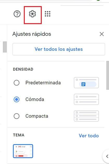 Ajustes de Gmail para cambiar la forma en que se ven los correos en la bandeja de entrada.