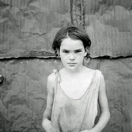 Niňo en un asentamiento de chozas en Oklahoma City (Oklahoma 1936, agosto)