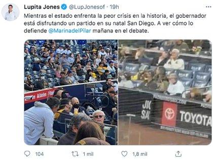 Lupita Jones, candidata a la gubernatura de Baja California, criticó al mandatario por asistir al evento deportivo en plena crisis por COVID-19 (Foto: captura de pantalla / Twitter@LupJonesof)