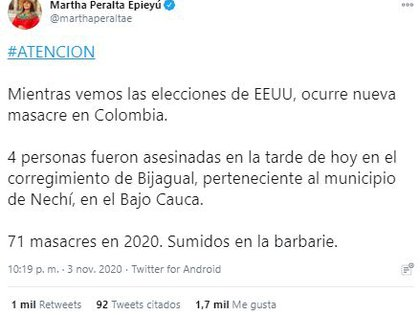Reacción de la presidenta del movimiento MAIS, Martha Peralta Epieyú, tras presunta masacre en Nechí, Bajo Cauca antioqueño.