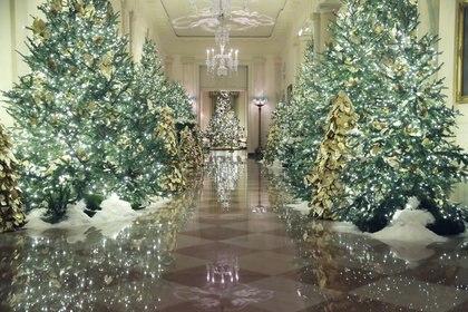 Las decoraciones navideñas se exhiben en el Gran Vestíbulo de la Casa Blanca el 2 de diciembre de 2019 en Washington, DC. (Mark Wilson / Getty Images / AFP)