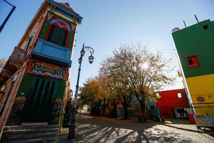 La calle Caminito en la Boca, un punto de enorme importancia para la actividad turística, deseirto durante la pandemia